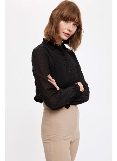 DeFacto Yeni Yıl  Uzun Kollu Gömlek Siyah